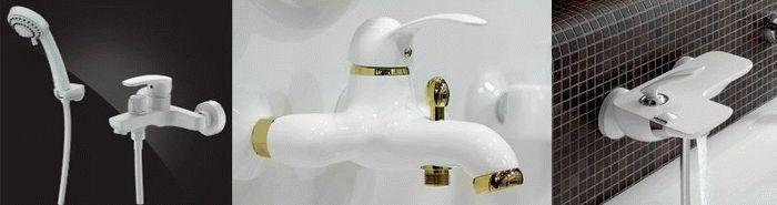 купить белый смеситель для ванной в Киеве